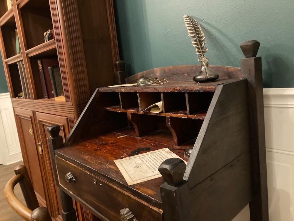 Closeup of Ben Franklin's writing desk.