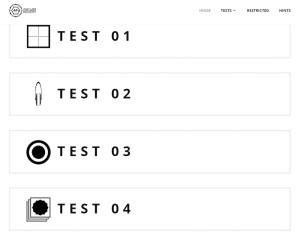 A web interface for selecting different tests.