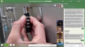 Closeup of finger inputting a combination into a padlock.
