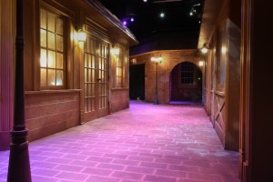 The alleyway hall within Enter the Imaginarium. Everything is made from wood and brick.