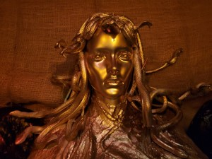 Golden statue of Medusa.