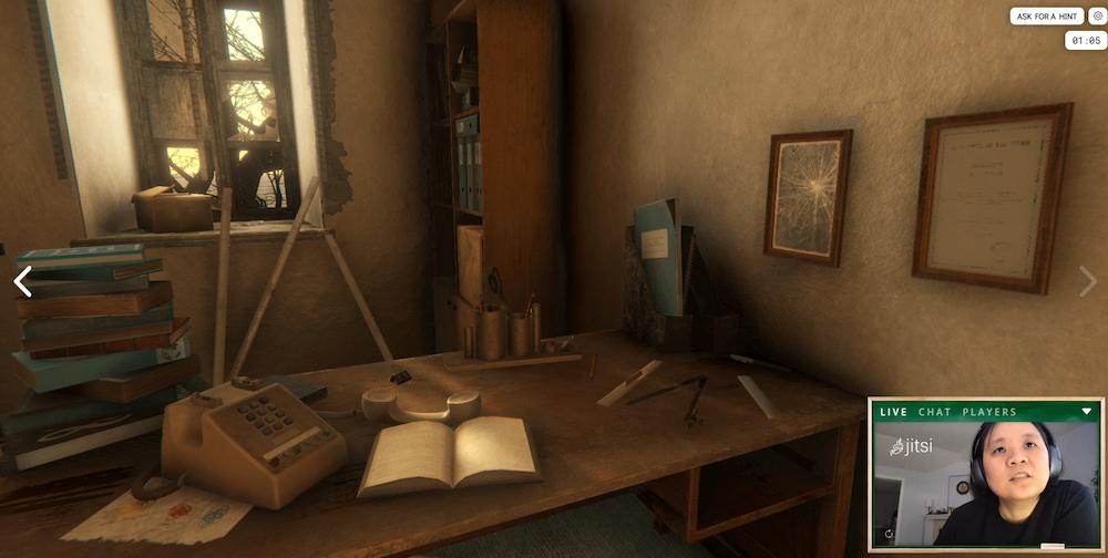 3D rendering of an old, rundown office in a school.