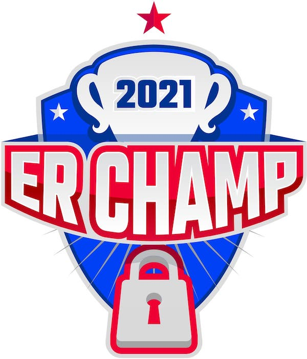 2021 ER Champ logo with a trophy and a padlock.