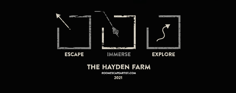 Escape Immerse Explore 2021 The Hayden Farm features a creepy black, white, and grey aesthetic.