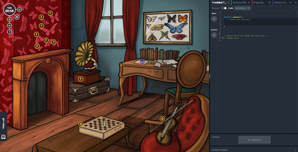 An illustrated study beside a code editor.