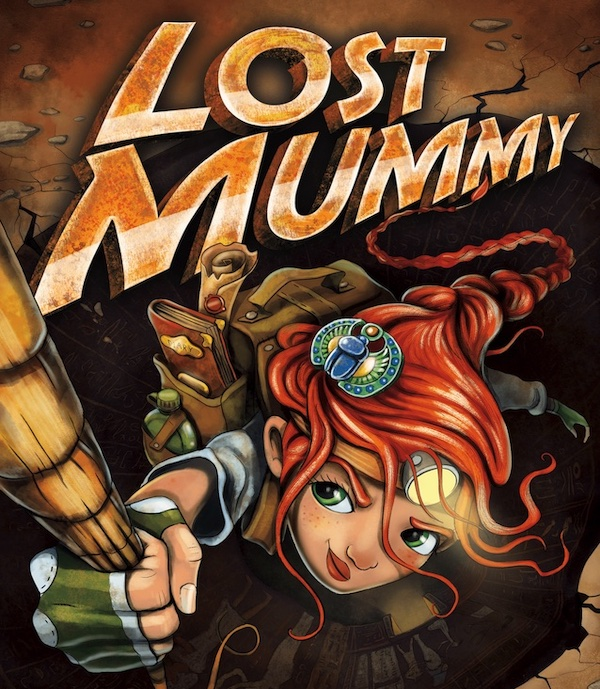 Lost Mummy art depicts a redheaded adventurer descending into a tomb by rope.