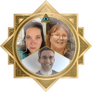 Snow, Ken, & Jackie's combined headshots in an ornate art deco RECON 21 frame.