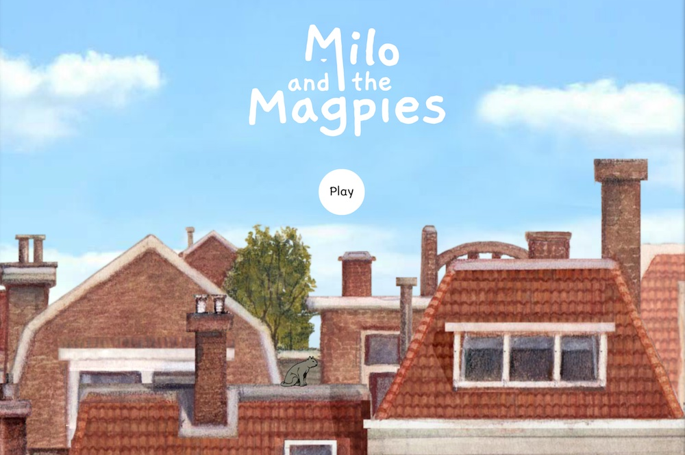 Milo and the Magpies load screen depicts the rooflines of a European town.