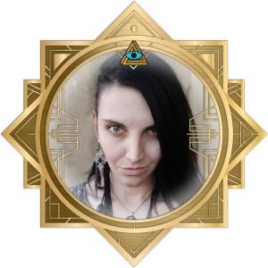 Tasha's headshot in an ornate art deco RECON 21 frame.