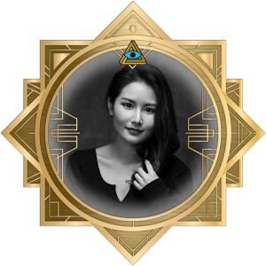 Yan's headshot in an ornate art deco RECON 21 frame.