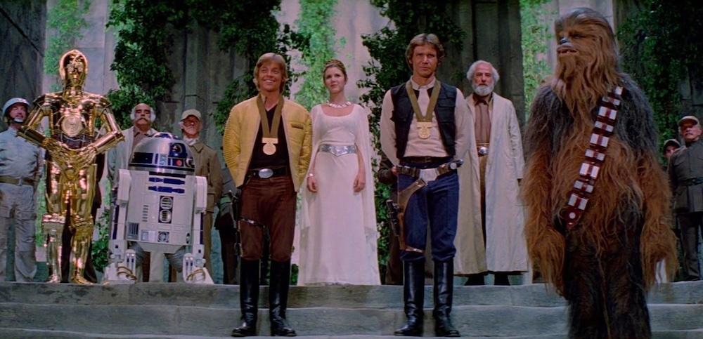 Final scene of Han and Luke have been presented with medals. Form some insane reason Chewie doesn't have one.
