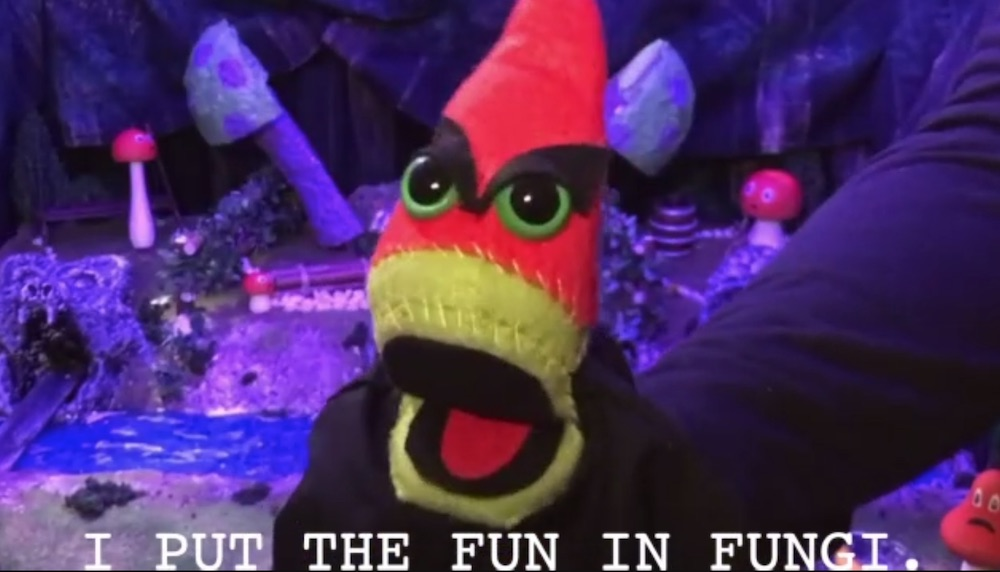 """A puppet with evil eyes, closed captioned, """"I put the fun in fungi."""""""