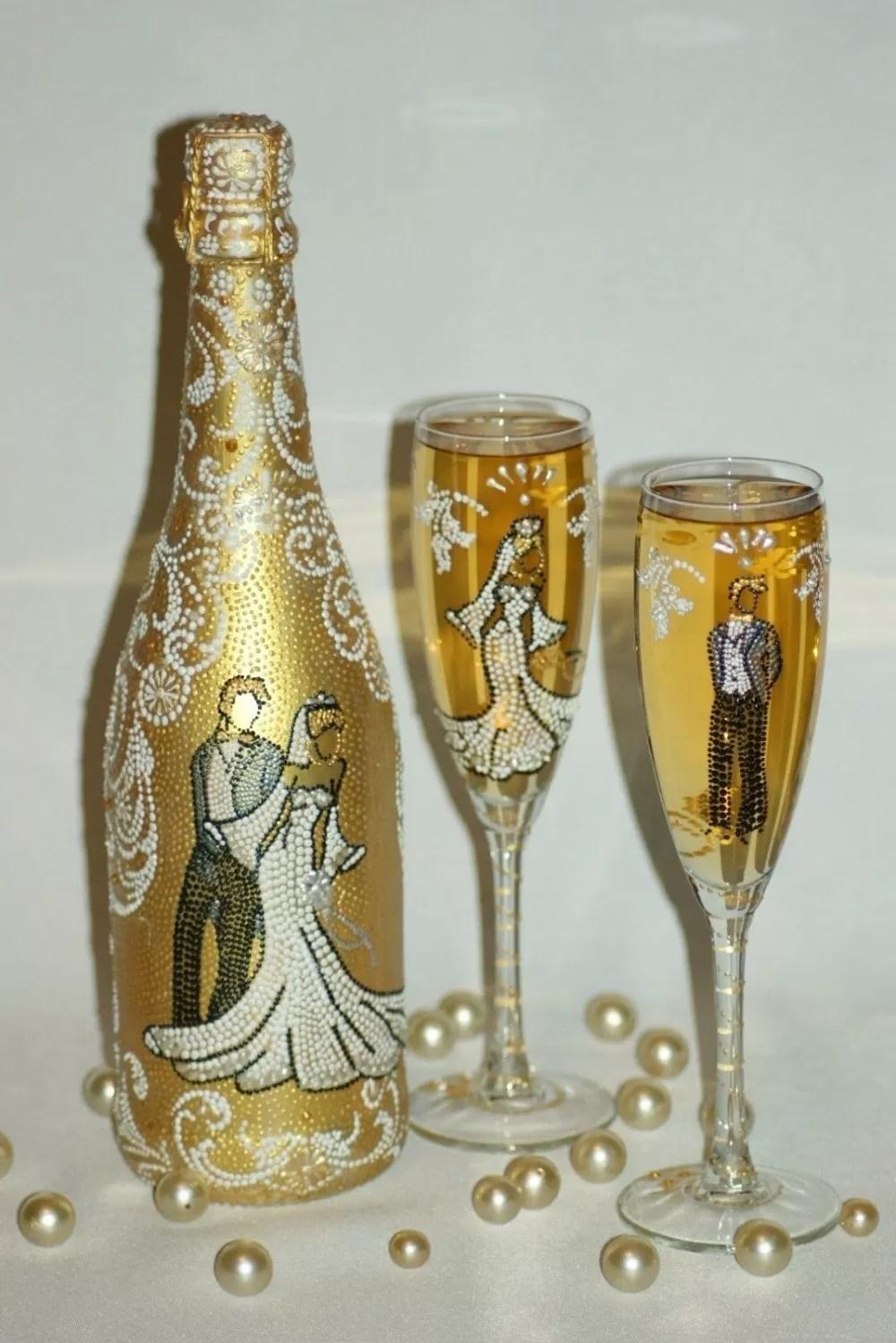 Pictura cu vopsele de sticle de nunta