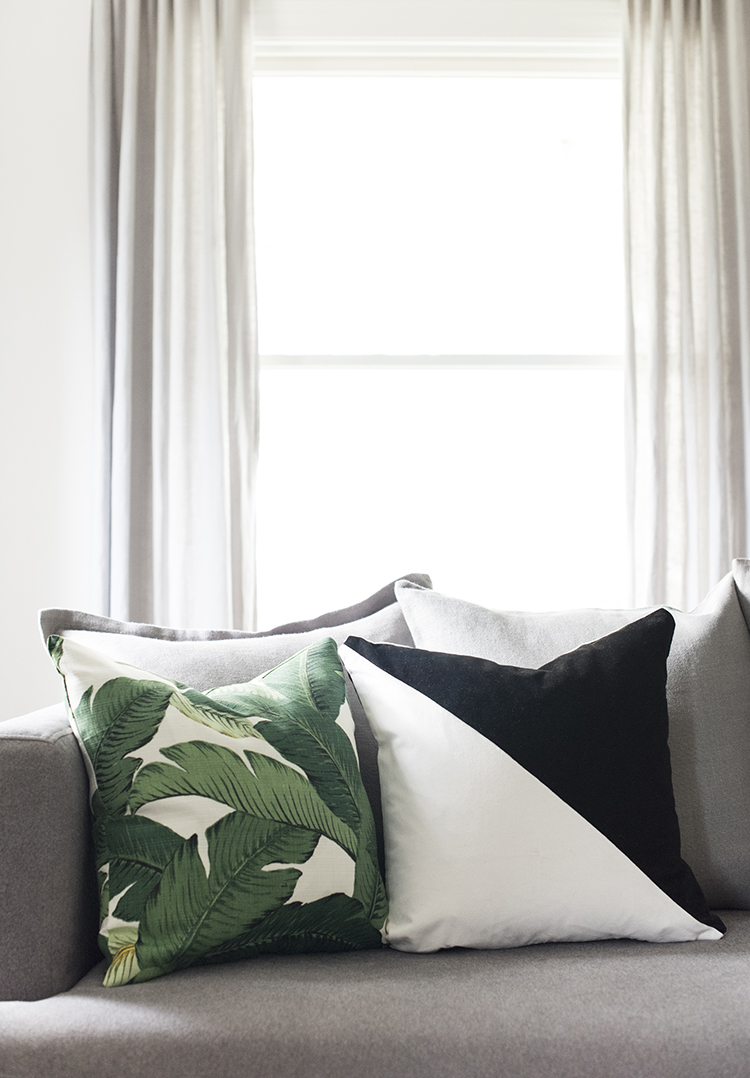 Palm Leaf and Diagonal Pillows
