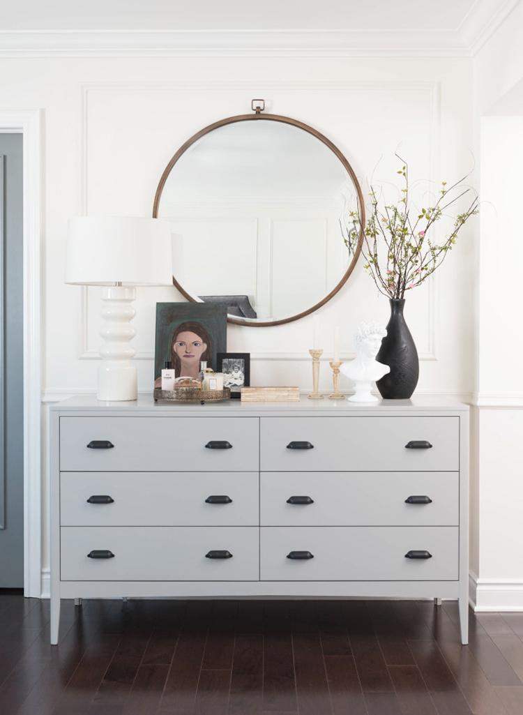 mirror behind dresser