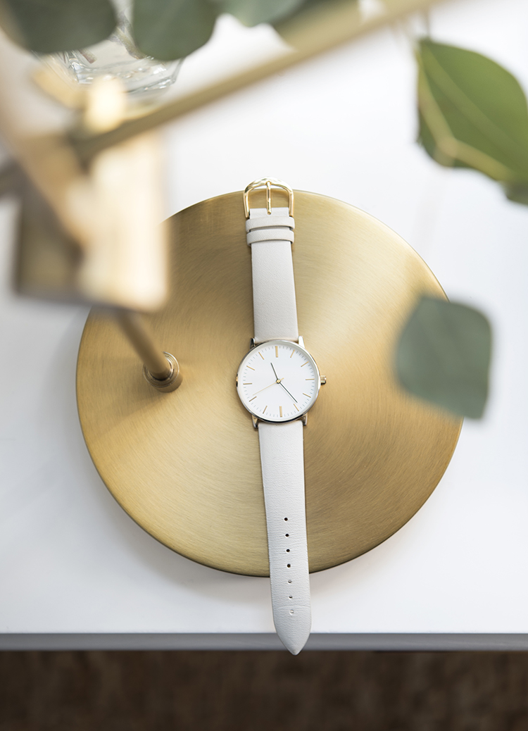 White and Brass Wrist Watch