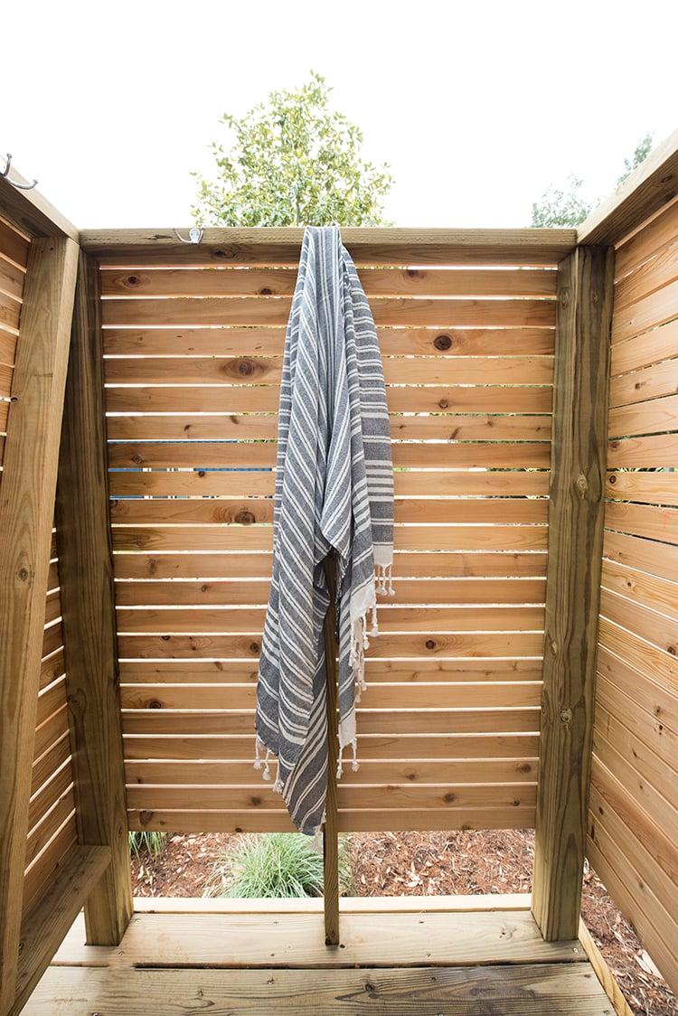 Turkish Towel in Outdoor Shower