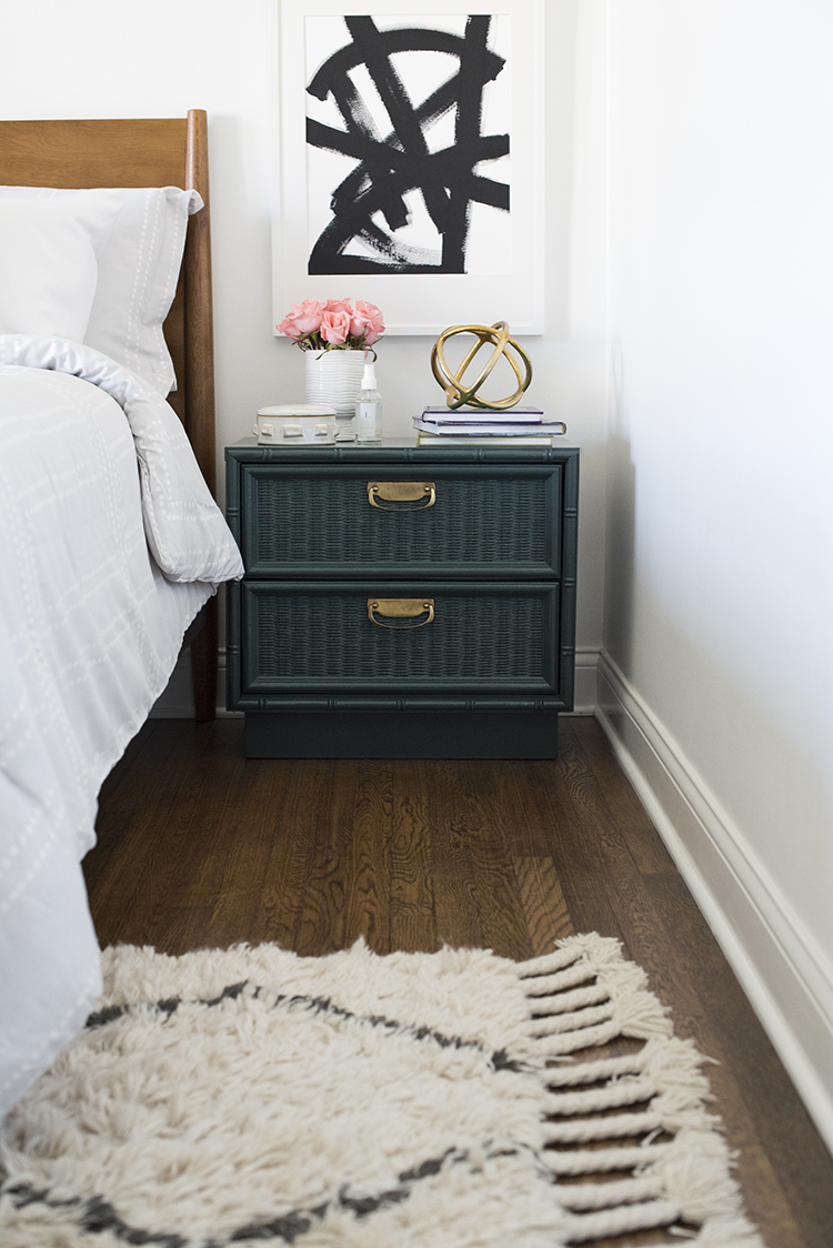 Teal Bamboo Nightstand in Chic Bedroom