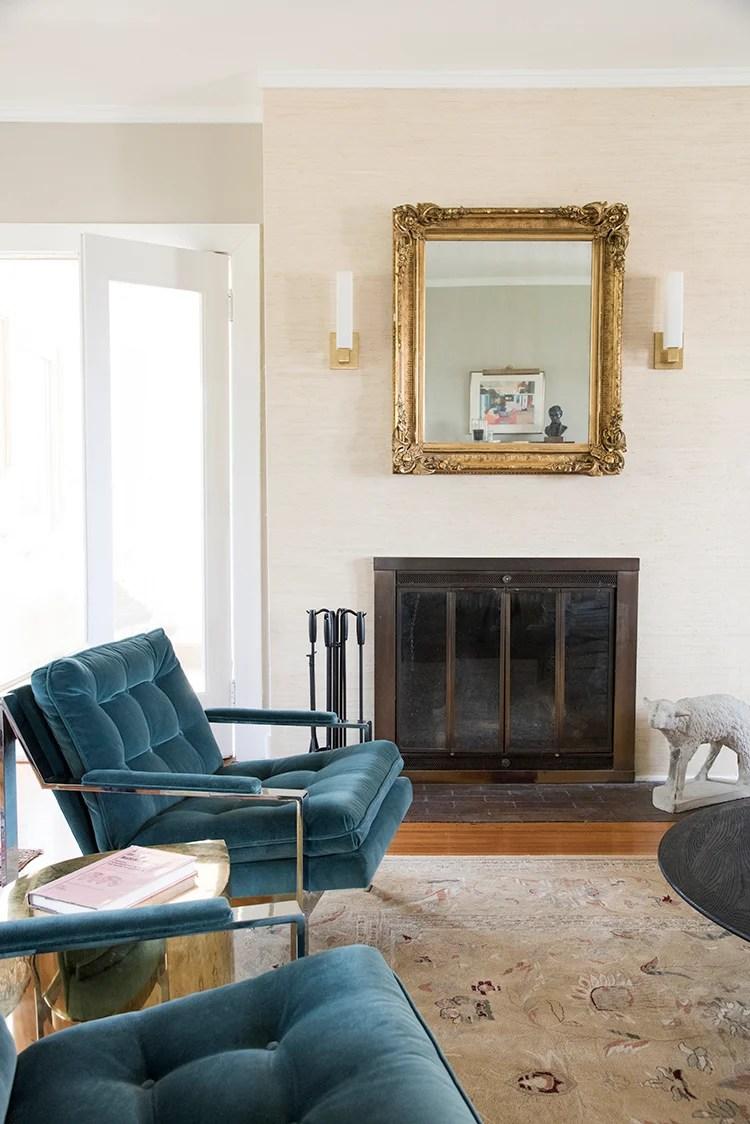 Grasscloth Fireplace