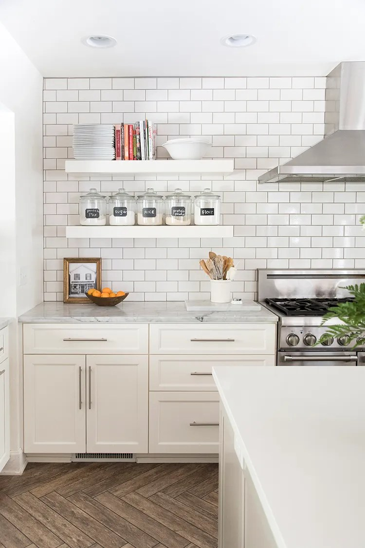 Floating Shelves in White Kitchen