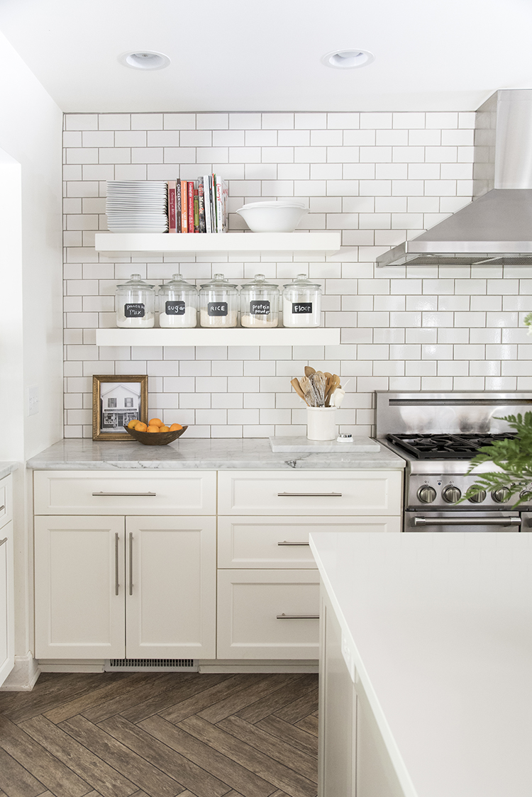 Floating Shelves in White Kitchen