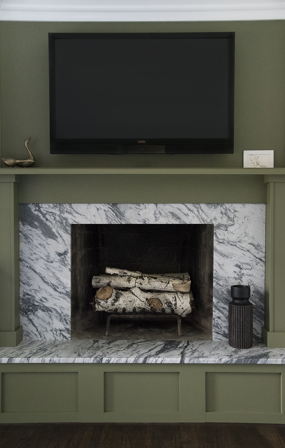 Marble and Green Fireplace