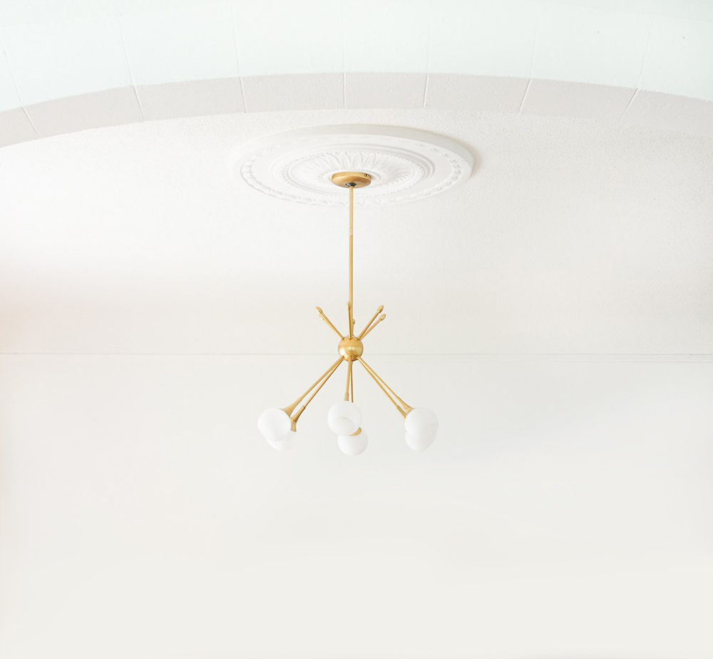 Ceiling Medallion with Modern Light Fixture