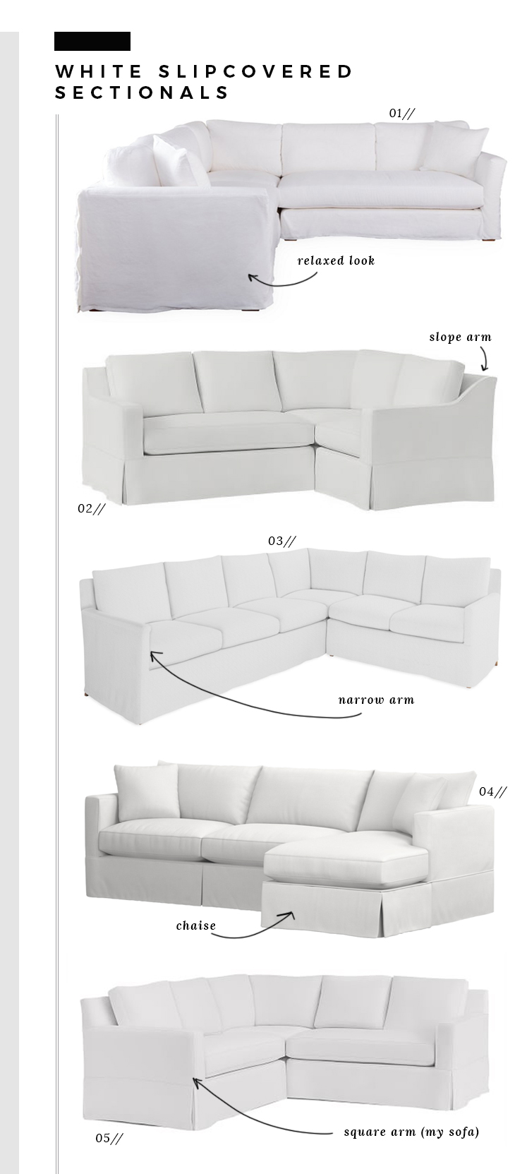 White Slipcover Sectionals