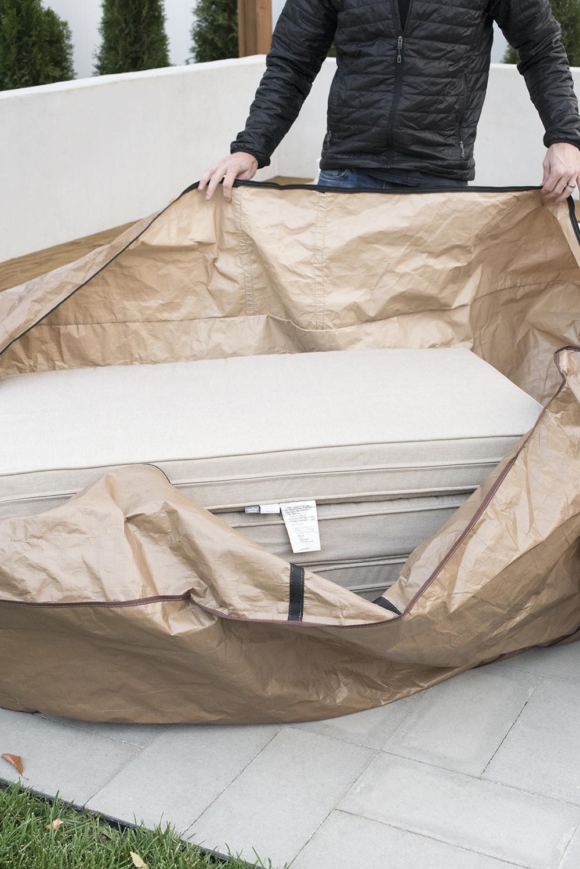 Outdoor Sofa Cushions in Weatherproof Bag