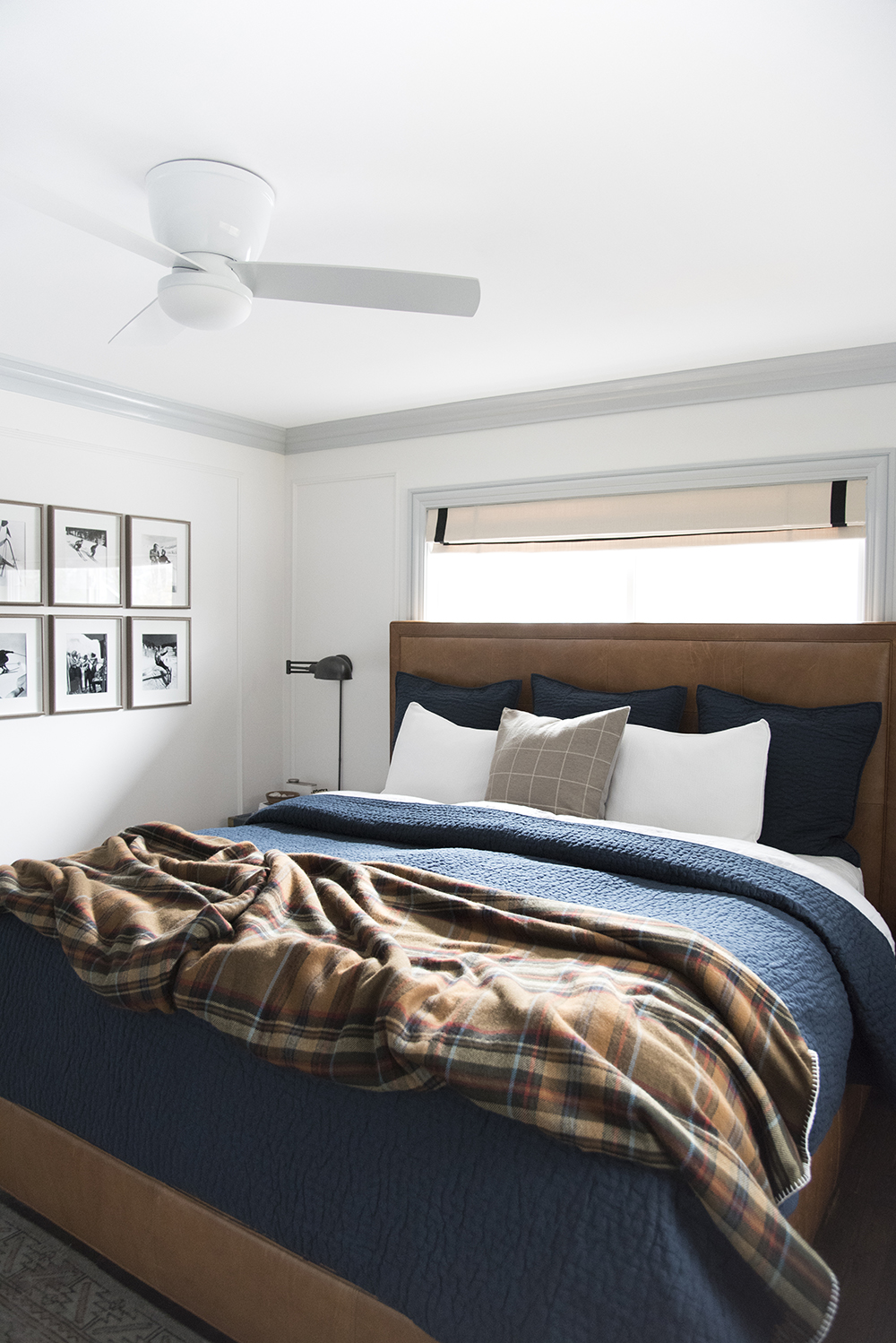 cozy master bedroom for fall and winter with plaid bedding - roomfortuedsay.com
