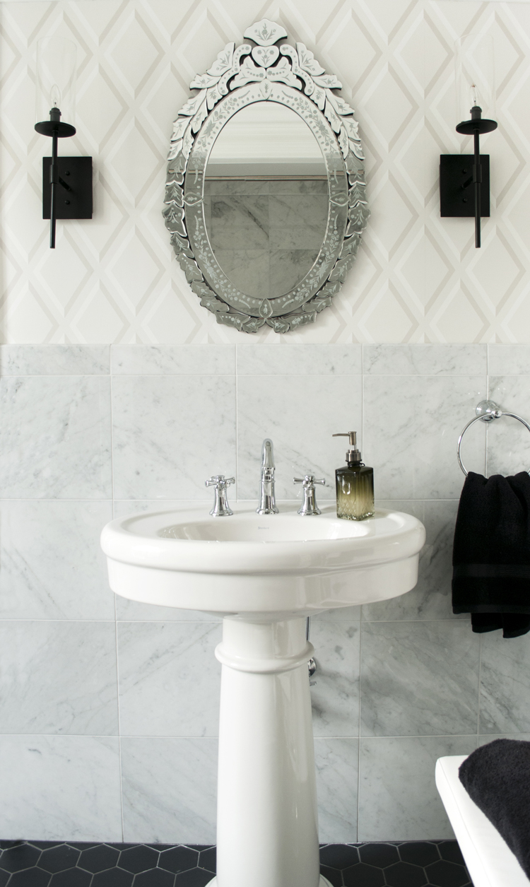 Marble Tile in Bathroom with Pedetsal Sink - Room For Tuesday
