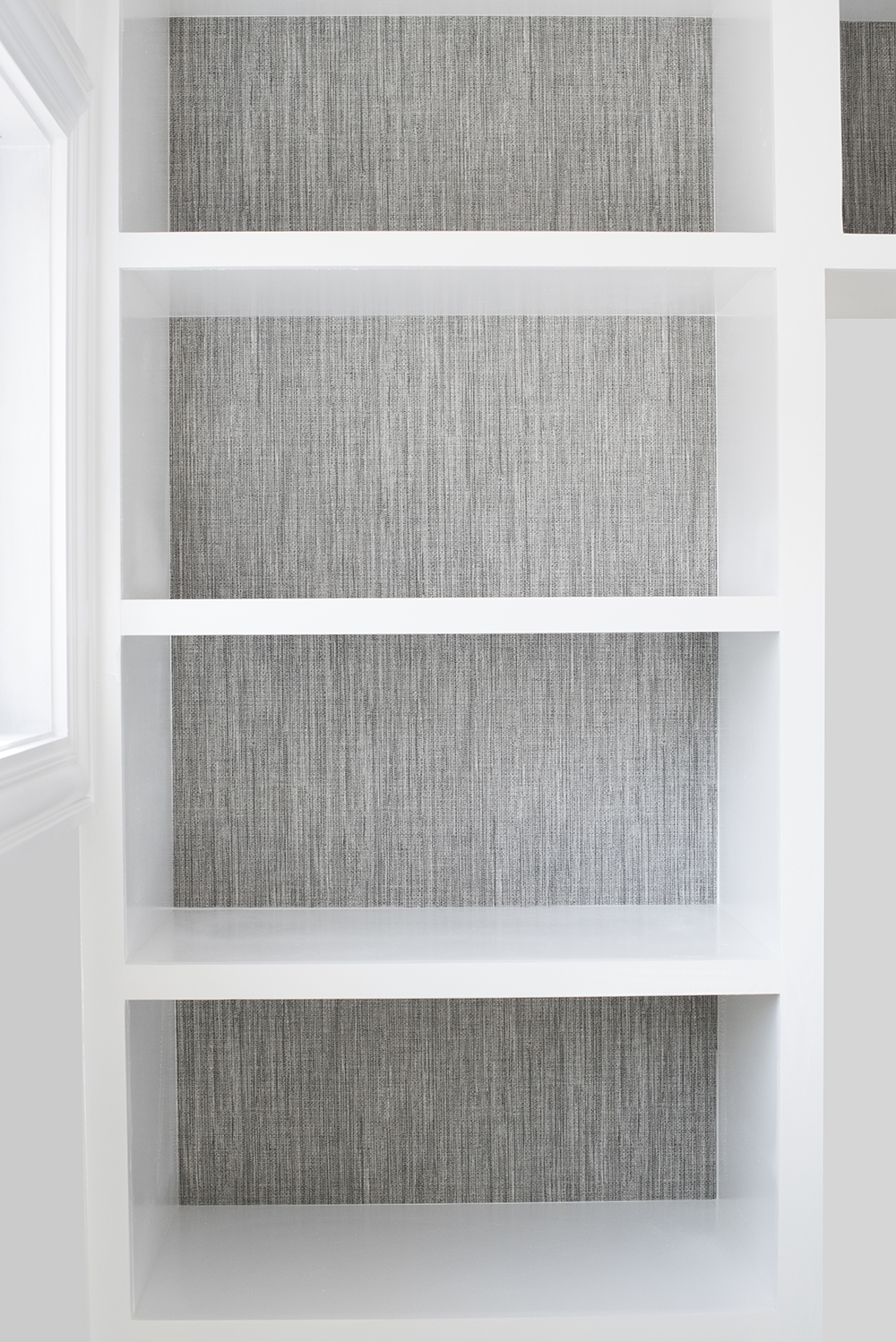 How to Wallpaper Built-Ins + My Favorite Grasscloth - roomfortuesday.com
