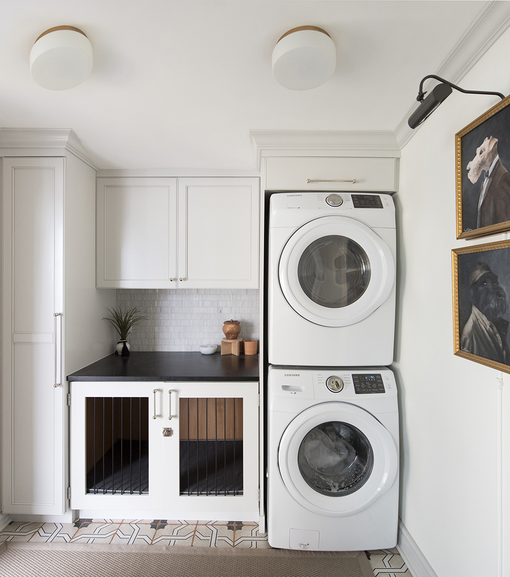 Laundry Room with Built-in Stacked Units and Integrated Dog Kennel - roomfortuesday.com