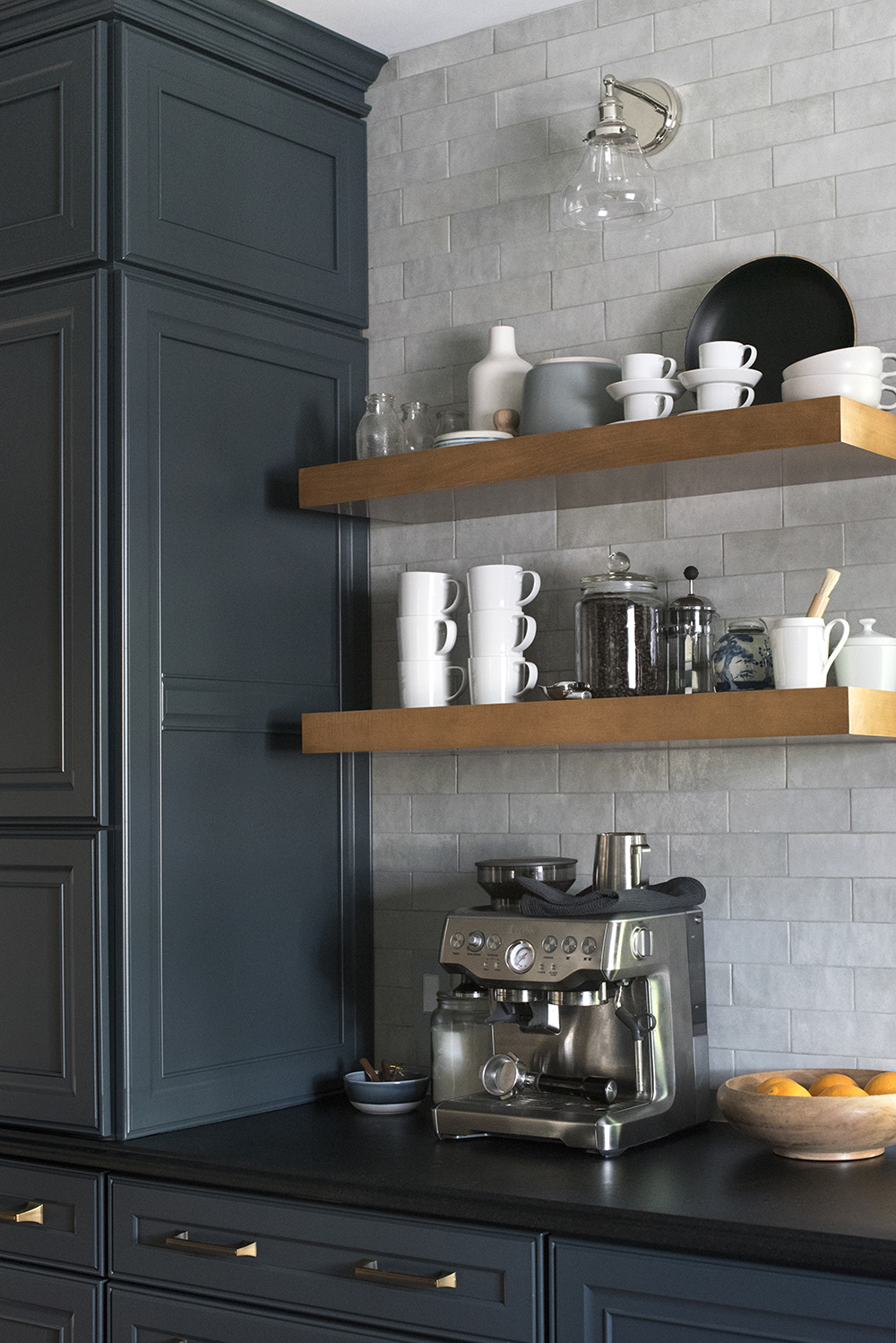 Floating Shelves at Coffee Bar in Kitchen - Room For Tuesday