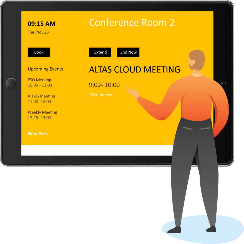 To make a reservation, a user selects the date and time of the planning meeting and then picks one of the available rooms in the dropdown. Conference Room Displays Room Manager Office 365
