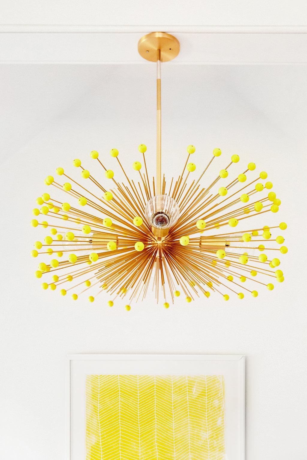 Color Beaded Urchin Chandelier