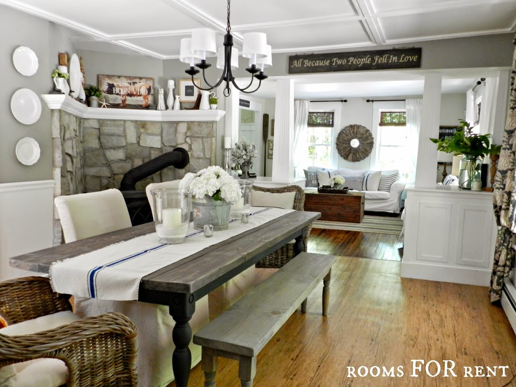 Open Concept Farmhouse New Chandelier In The Dining Room Rooms For Rent Blog