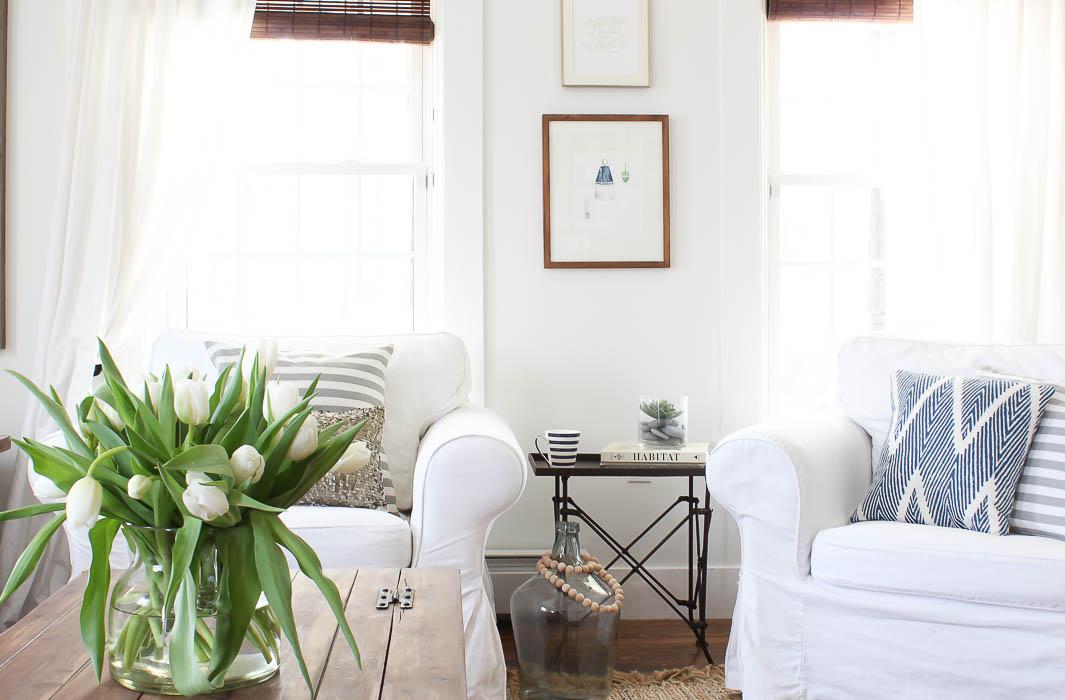 white slipcovered chairs