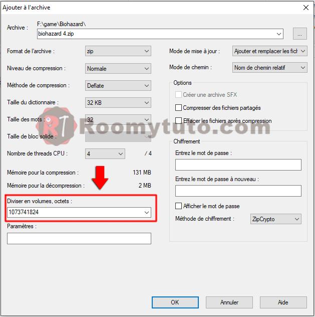 7zip_Comment découper un gros fichier en plusieurs morceaux_2