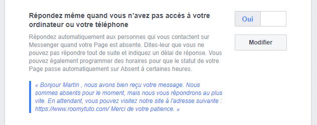 Activer la réponse automatique sur la page Facebook