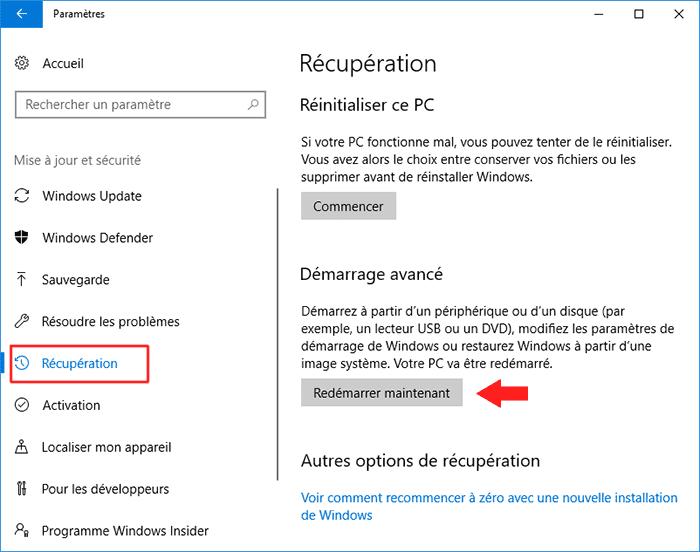 accéder dans le BIOS/UEFI sur Windows 10 et 8_3