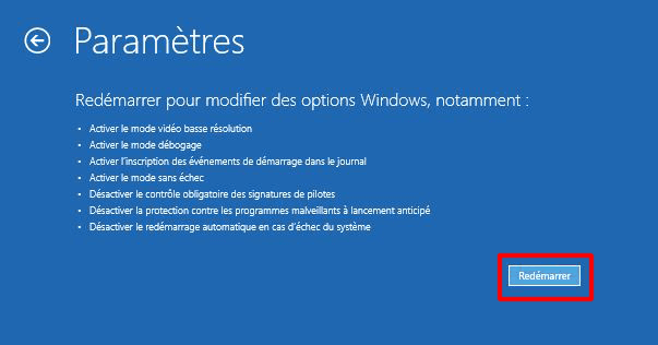désactiver le contrôle obligatoire des signatures de pilotes sur Windows