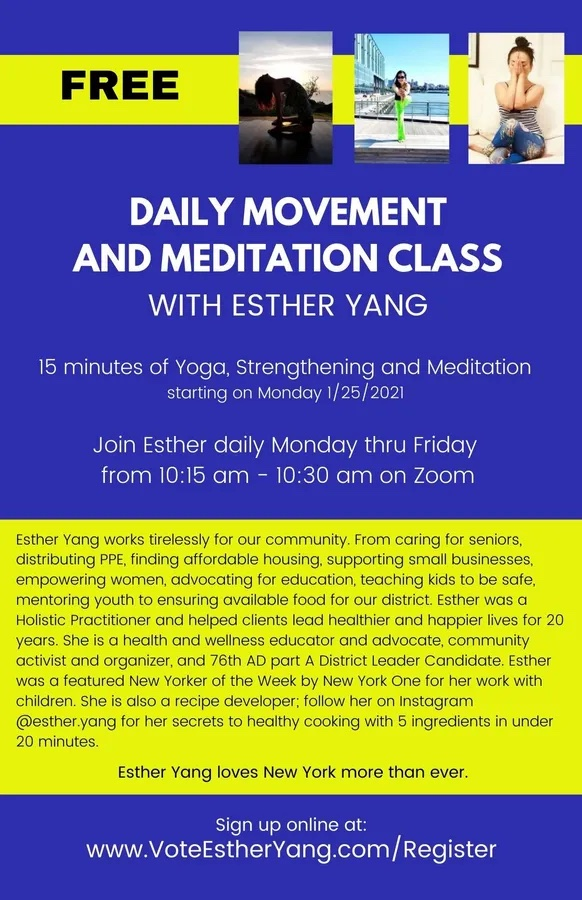 Free Daily Meditation & Yoga Classes with Esther Yang