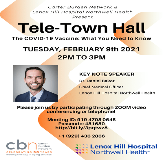 The COVID-19 Vaccine, Tomorrow, Tele-Town Hall, Sponsored by the Carter Burden Network