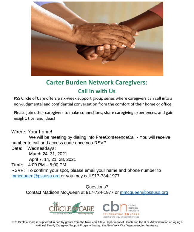 Starting March 24th, Carter Burden Network Caregivers Support Group