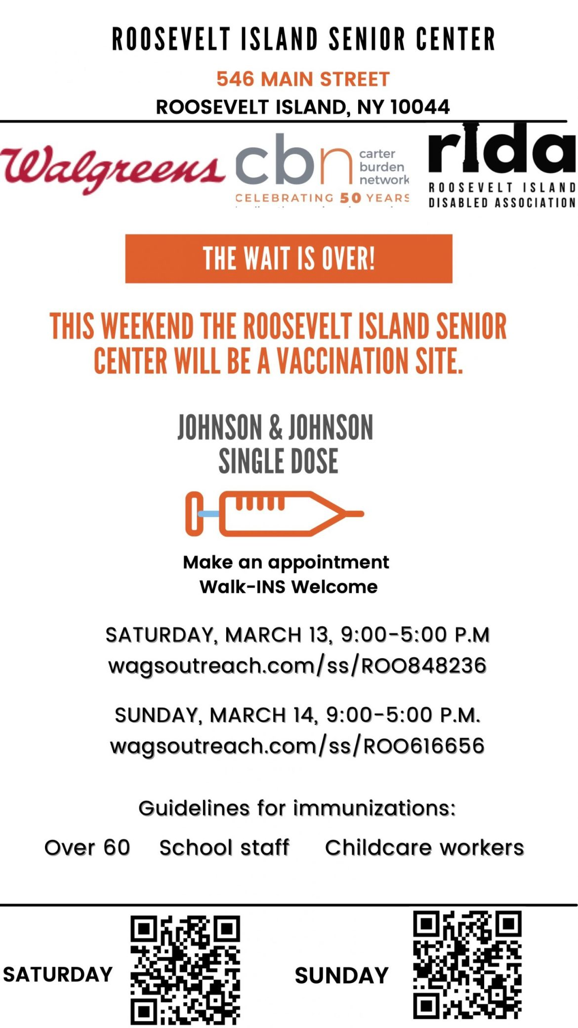 Breaking News: Roosevelt Island Senior Center Is A Vaccine Site, This weekend