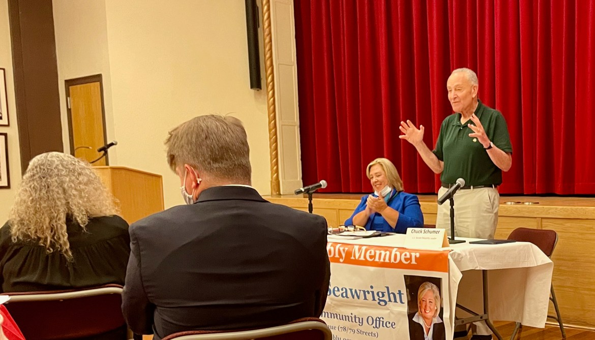 Seawright brings Chuck Schumer to town, and Roosevelt Islanders make their cases