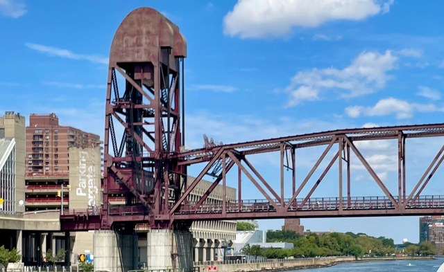 """Roosevelt Island Bridge today. It's like the state used Visine to """"Get the red out."""""""