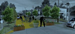 Simulation of possible open space design for Weedin Place.