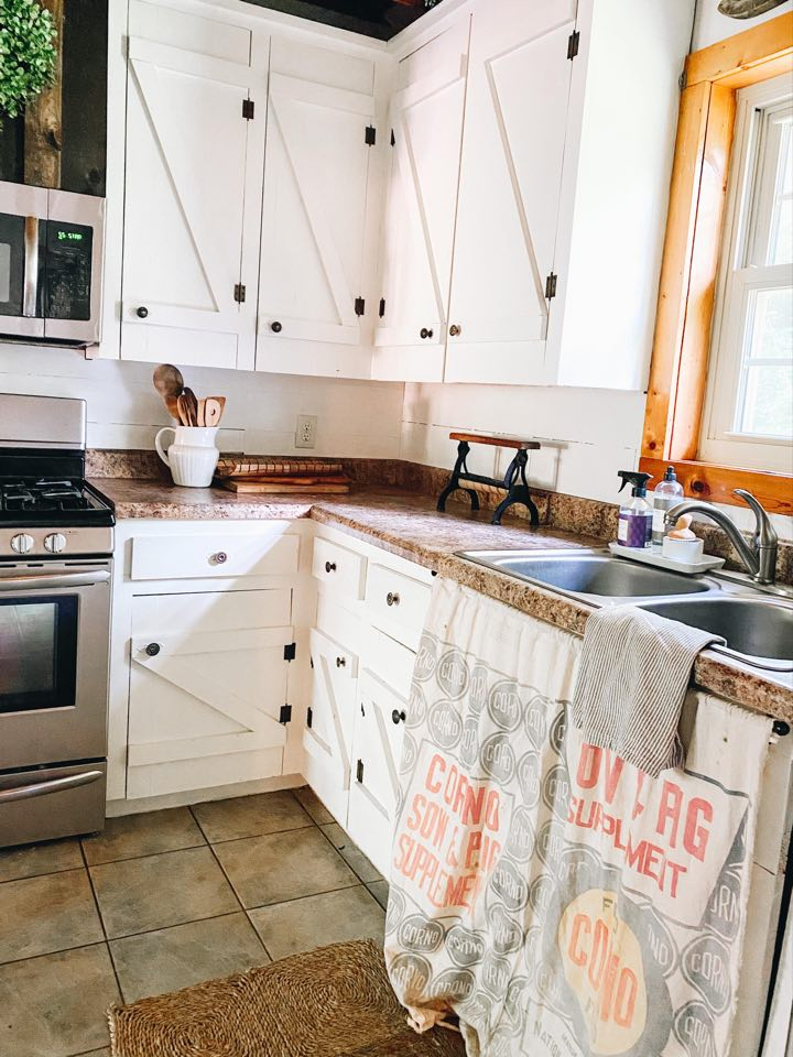 rustic feed sack kitchen sink curtain